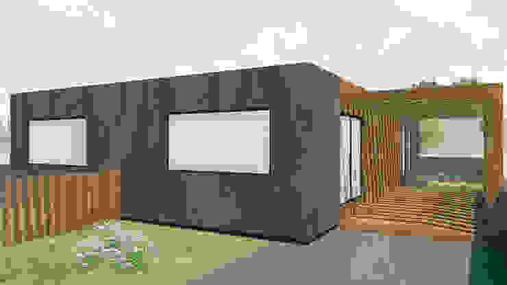 Pérgola exterior. Casas modernas por Estúdio AMATAM Moderno Madeira Acabamento em madeira