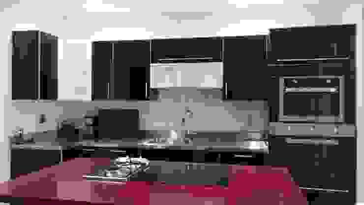 Cocina minimalista negra y roja K+A COCINAS Y ACABADOS DE MONTERREY SA DE CV Cocinas equipadas Compuestos de madera y plástico Negro