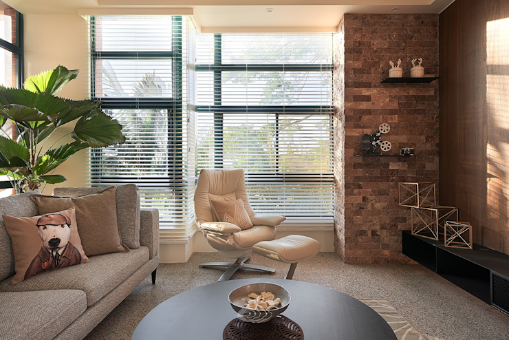 美式休閒渡假別墅 層層室內裝修設計有限公司 现代客厅設計點子、靈感 & 圖片
