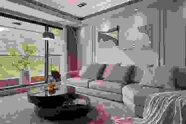 細膩質感景觀宅 现代客厅設計點子、靈感 & 圖片 根據 層層室內裝修設計有限公司 現代風