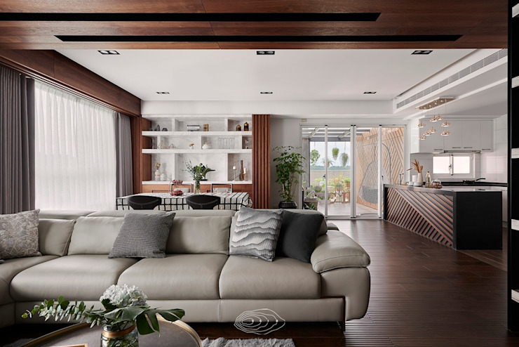 退休人文景觀宅 層層室內裝修設計有限公司 现代客厅設計點子、靈感 & 圖片