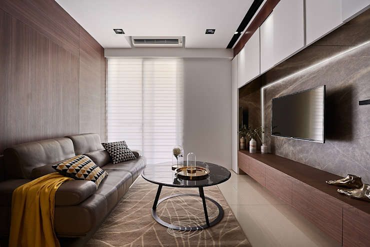 現代人文小豪宅 现代客厅設計點子、靈感 & 圖片 根據 層層室內裝修設計有限公司 現代風