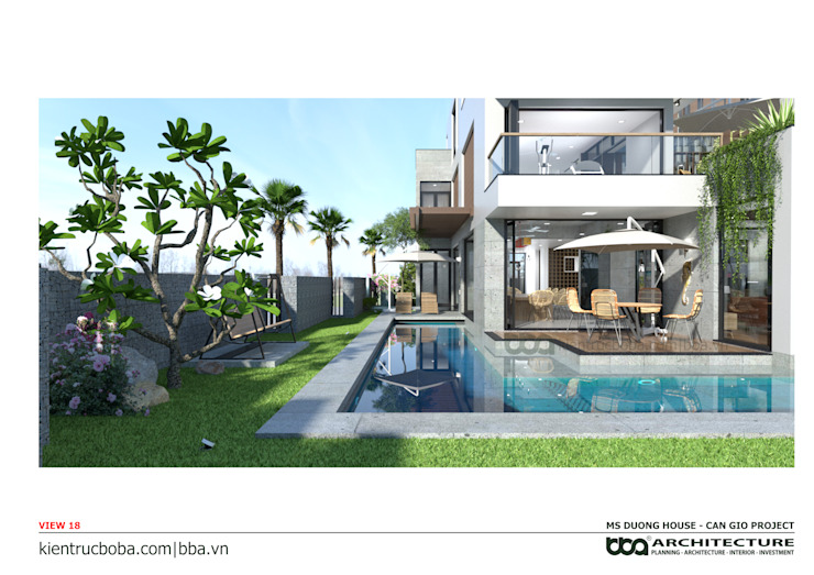 ​Villa design in modern style, rustic rustic in architecture. BBA Architect. by Công ty Cổ phần Thiết kế Xây dựng Bộ Ba