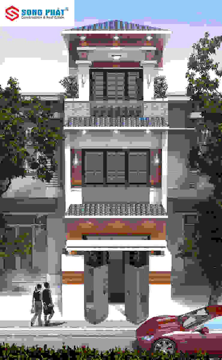 Mặt tiền nhà phố 3 tầng với thiết kế theo phong cách Nhật bởi Công ty Thiết Kế Xây Dựng Song Phát Châu Á