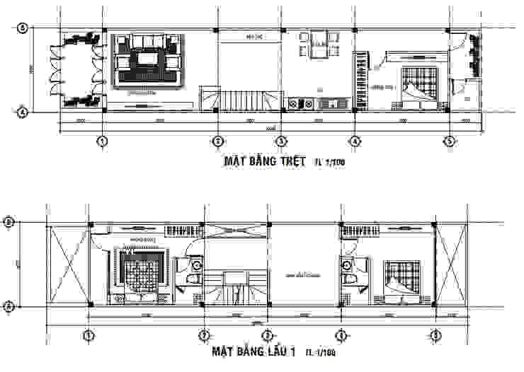 Bố trí mặt bằng nhà 3 tầng bởi Công ty Thiết Kế Xây Dựng Song Phát Châu Á