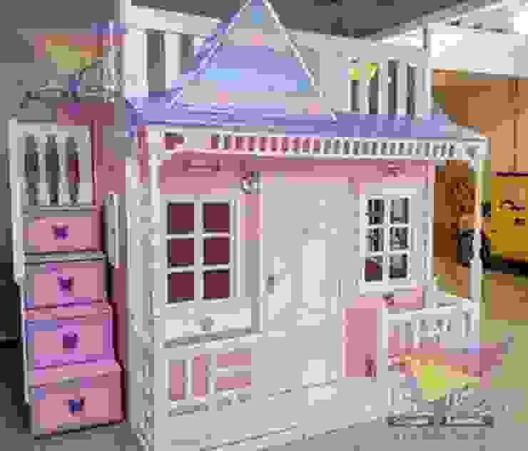 Hermosa casita celestial en rosa de camas y literas infantiles kids world Clásico Derivados de madera Transparente
