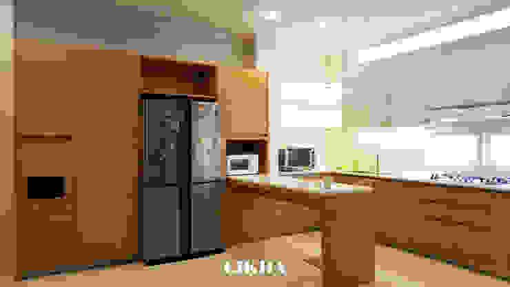 Dapur + Mini Bar Oleh Likha Interior Minimalis Kayu Lapis