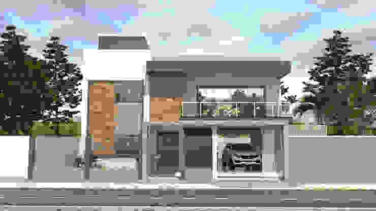 Edificação Residencial - Fachada Frontal AT arquitetos Casas familiares
