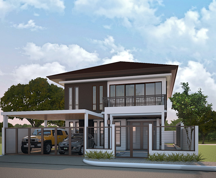 Proposed Two Storey Residence with Carport by MG Architecture Design Studio Asian