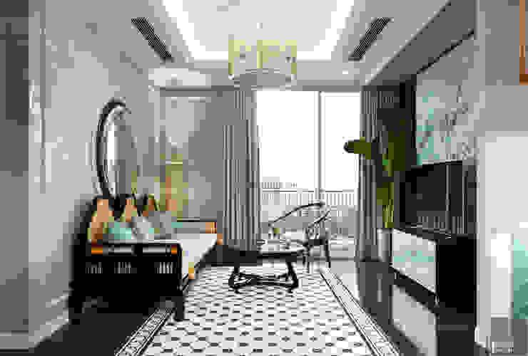 Thiết kế phong cách Đông Dương cùng sắc xanh độc đáo – Park Hill Phòng khách phong cách châu Á bởi ICON INTERIOR Châu Á