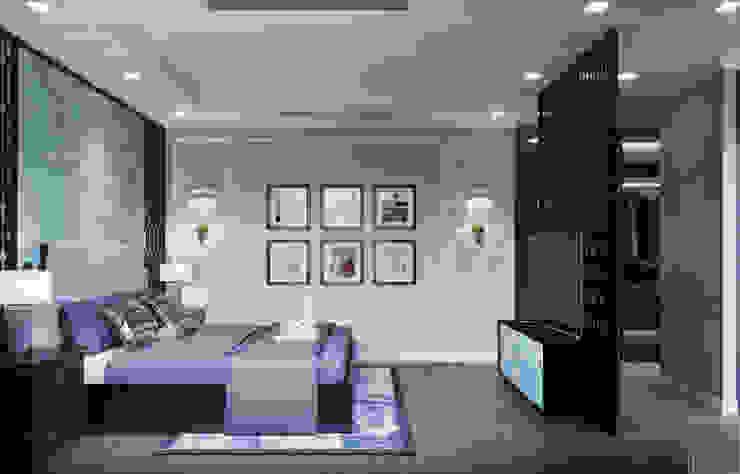 Thiết kế phong cách Đông Dương cùng sắc xanh độc đáo – Park Hill Phòng ngủ phong cách châu Á bởi ICON INTERIOR Châu Á