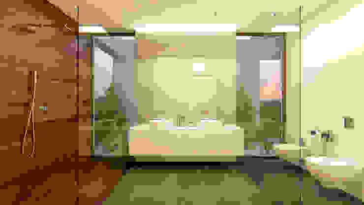 CASA RB1 - Moradia na Vila Utopia - Projeto de Arquitetura - casa de banho Traçado Regulador. Lda Casas de banho modernas Madeira Branco