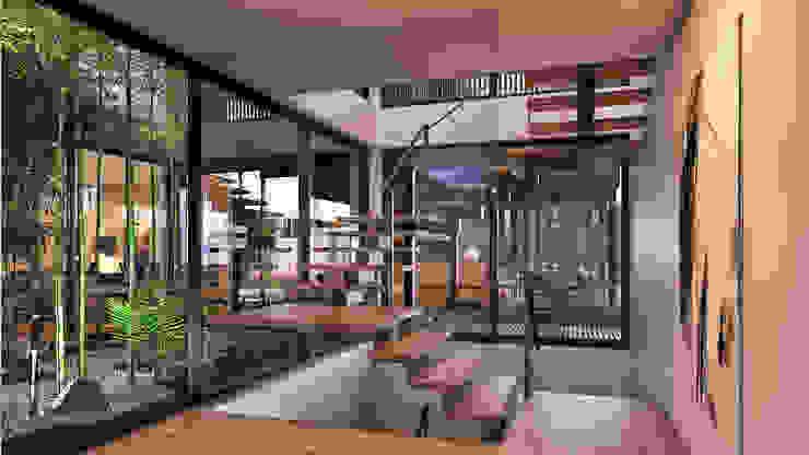 CASA SG2 - Moradia na Herdade da Aroeira - Projeto de Arquitetura - escada por Traçado Regulador. Lda Moderno Madeira Acabamento em madeira