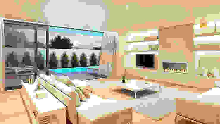 CASA HC1 - Moradia no Estoril - Projeto de Arquitetura - sala piscina Traçado Regulador. Lda Salas de estar modernas Madeira Branco
