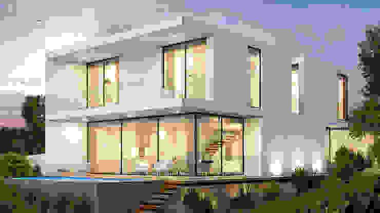 CASA HP1 - Moradia em Odivelas - Projeto de Arquitetura - exterior piscina: Moradias  por Traçado Regulador. Lda,Moderno Madeira Acabamento em madeira