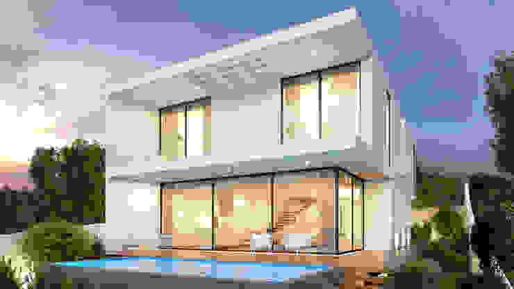 CASA HP1 - Moradia em Odivelas - Projeto de Arquitetura - exterior piscina por Traçado Regulador. Lda Moderno Madeira Acabamento em madeira