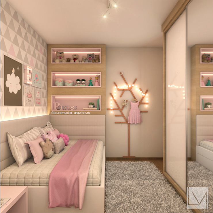 Laura Mueller Arquitetura + Interiores غرفة نوم بنات MDF Pink