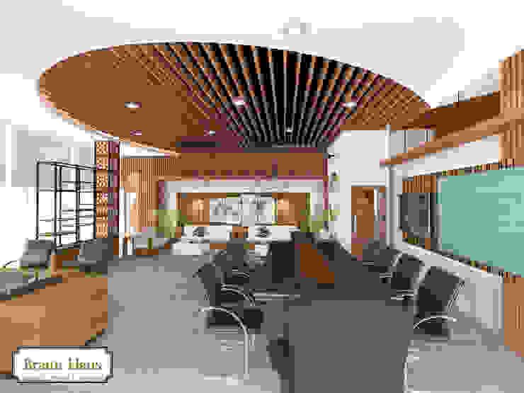 Timber office Ruang Studi/Kantor Gaya Asia Oleh Braun Haus Asia Kayu Wood effect