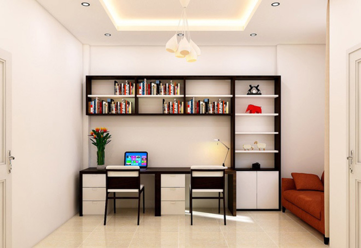 Asian style study/office by Công ty Thiết Kế Xây Dựng Song Phát Asian