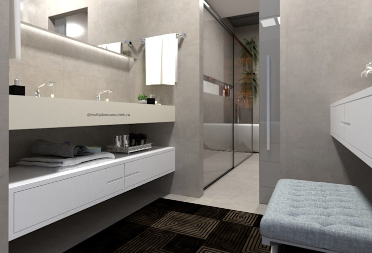 Modern style bathrooms by Laene Carvalho Arquitetura e Interiores Modern Concrete