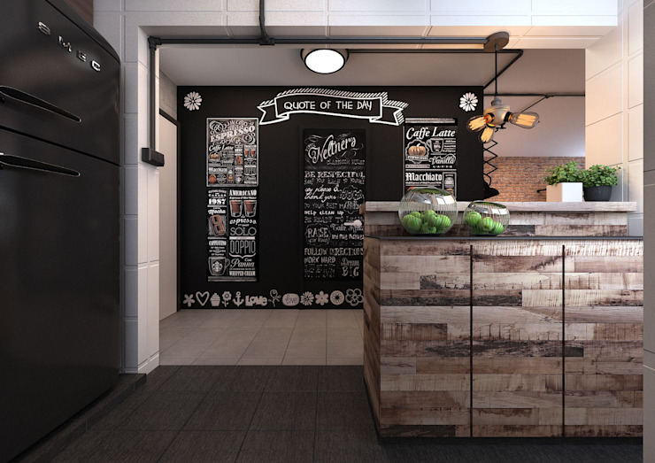 Chalkboard Wall at Foyer Area Koridor & Tangga Gaya Industrial Oleh March Atelier Industrial
