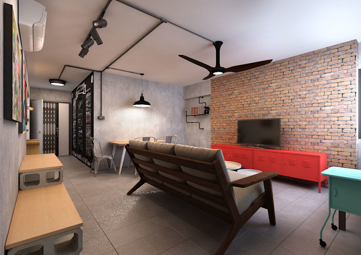 Living Room Ruang Keluarga Gaya Industrial Oleh March Atelier Industrial