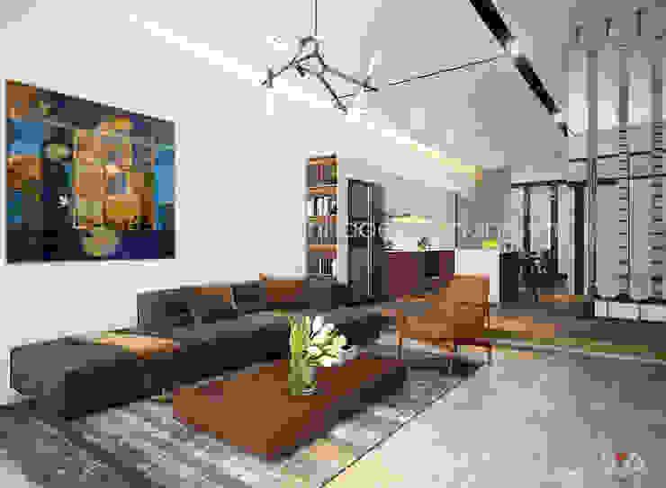 Thiết kế mặt tiền nhà phố 3 tầng Khu đô thị sinh thái Hòa Xuân, TP. Đà Nẵng: hiện đại  by AVA Architects, Hiện đại