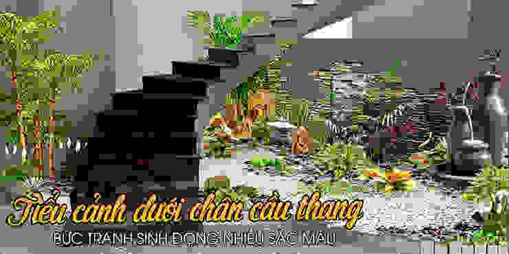 Bài trí non bộ dưới chân cầu thang- Hãy xem xét cẩn thận bởi Công Ty Thi Công Và Thiết Kế Tiểu Cảnh Non Bộ Châu Á
