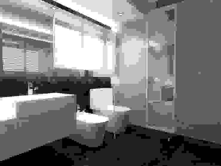 Lomas de Las Mercedes RRA Arquitectura Baños de estilo minimalista Cerámico Marrón