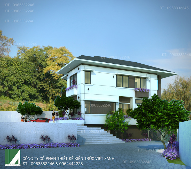 BIỆT THỰ HIỆN ĐẠI 2 TẦNG . THÀNH PHỐ HÀ TĨNH . bởi Kiến trúc Việt Xanh