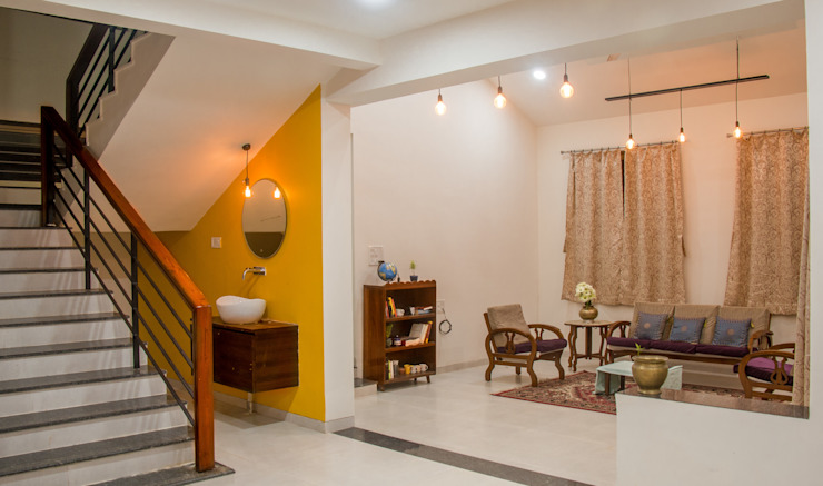 Farmhouse at Igatpuri Asian style corridor, hallway & stairs by Rawat Design Studio Asian