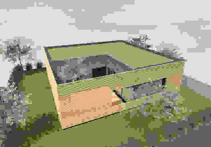 Bloc en bois - concept de maison cubique de 100m2 par Kauri Architecture