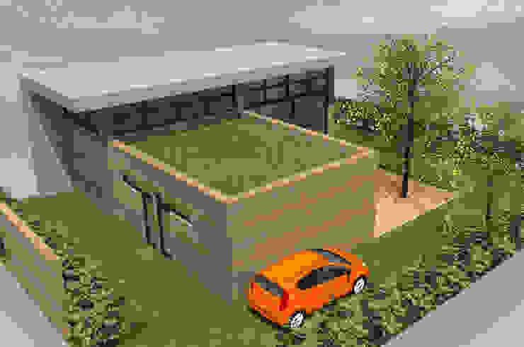 Translation - concept de maison en L à toit plat par Kauri Architecture