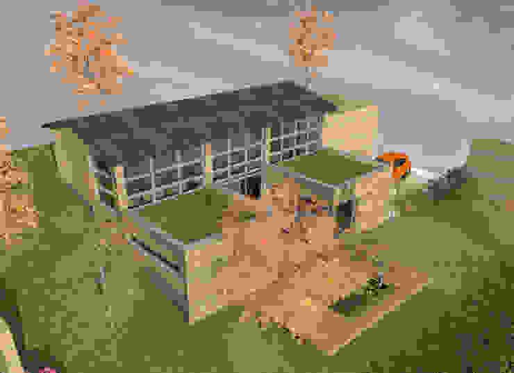 Façade rideau - concept de maison en U de 120m2 par Kauri Architecture