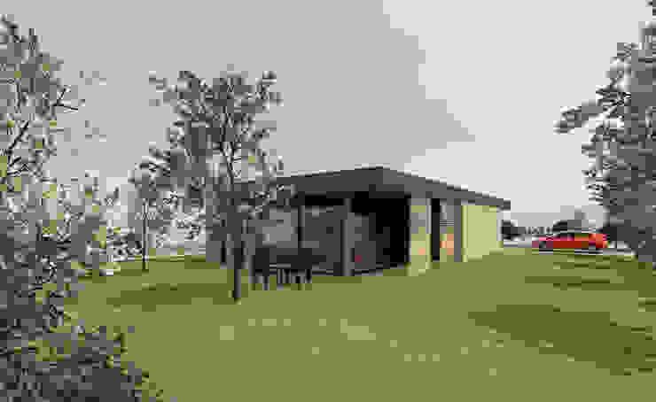Angle sur jardin - concept de maison en bois 130m2 par Kauri Architecture