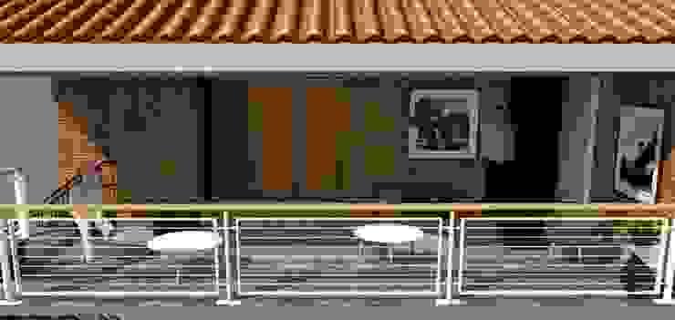 Balcon Pasillos, vestíbulos y escaleras de estilo industrial de Fire Design AR Industrial Ladrillos