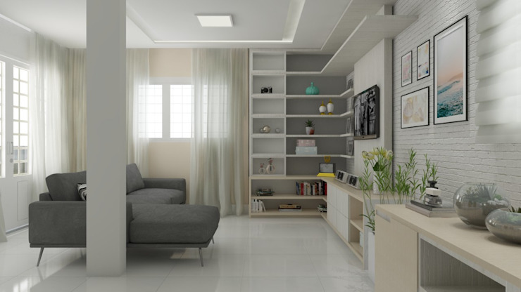 homify Scandinavian style living room White