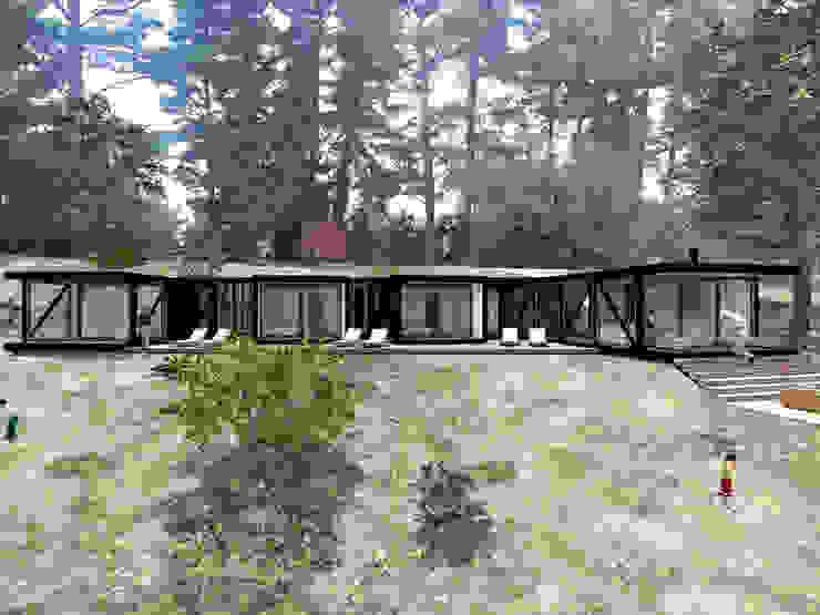 VISTA FRONTAL Casas de estilo rústico de KOMMER ARQUITECTOS Rústico Madera Acabado en madera