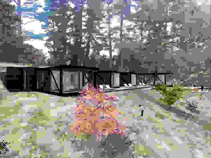 VISTA LATERAL Casas de estilo rústico de KOMMER ARQUITECTOS Rústico Madera Acabado en madera