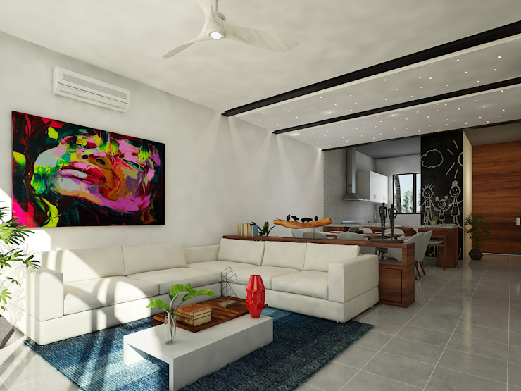 sala:  de estilo  por Daniel Cota Arquitectura | Despacho de arquitectos | Cancún, Moderno