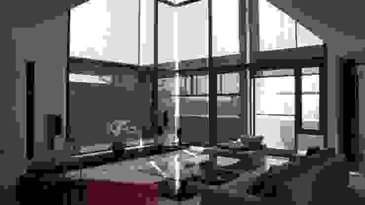挑空無結構柱的客廳 根據 黃耀德建築師事務所 Adermark Design Studio 簡約風