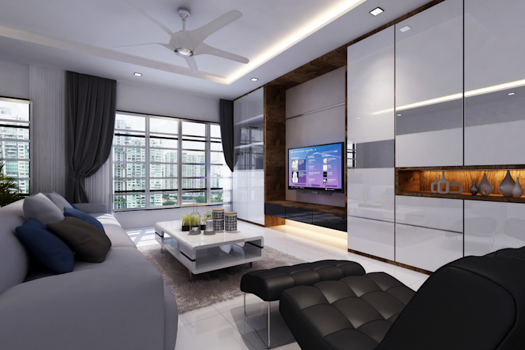 Simple White Space Modern Living Room by March Atelier Modern