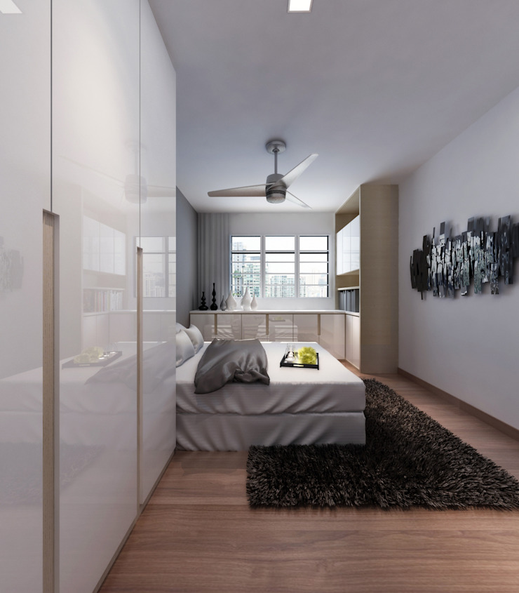 Simple White Space Modern Bedroom by March Atelier Modern