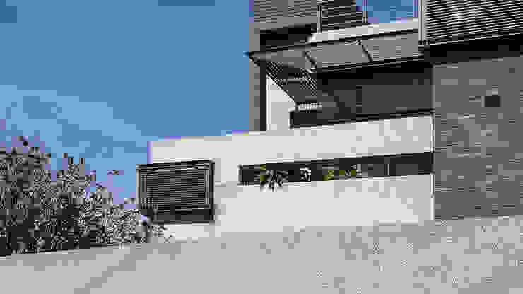 露台高牆與遮陽 根據 黃耀德建築師事務所 Adermark Design Studio 簡約風
