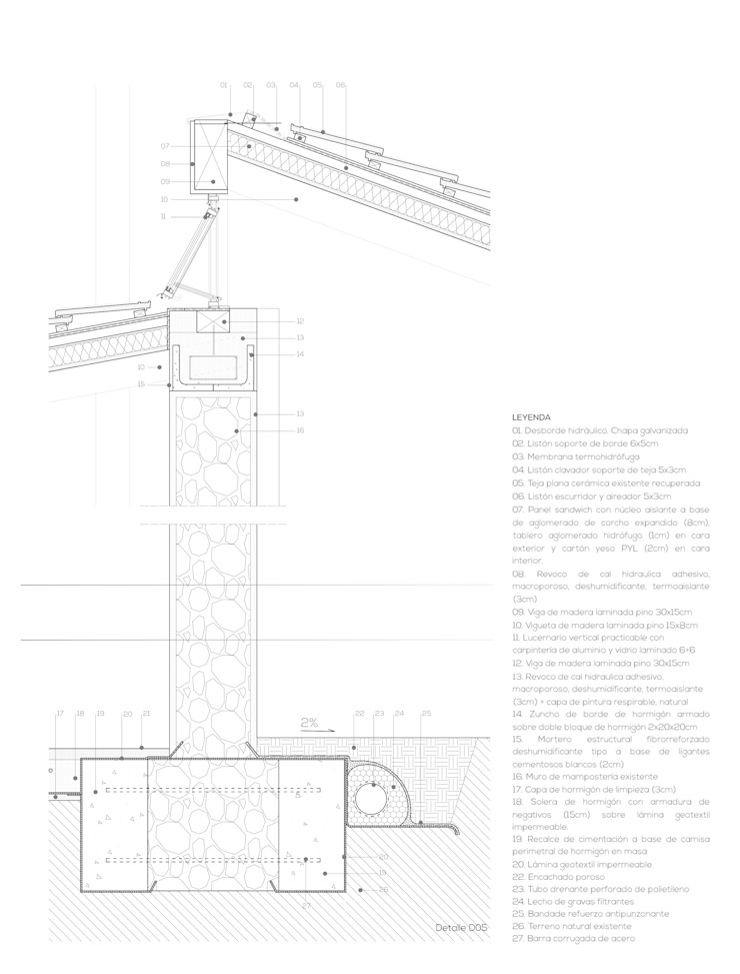 Planos de proyecto - detalle de fachada Francisco Pomares Arquitecto / Architect Casas de estilo rural