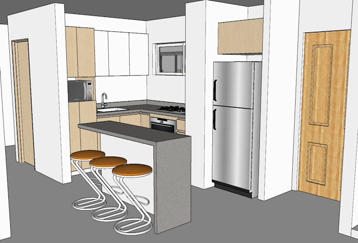Render aprobado por el cliente de Remodelar Proyectos Integrales Moderno Tablero DM