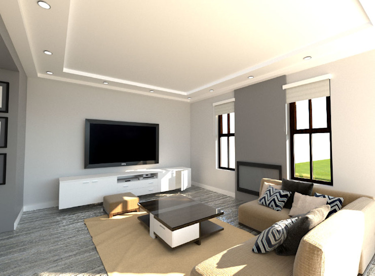 New Entertainment Area:  Living room by A4AC Architects