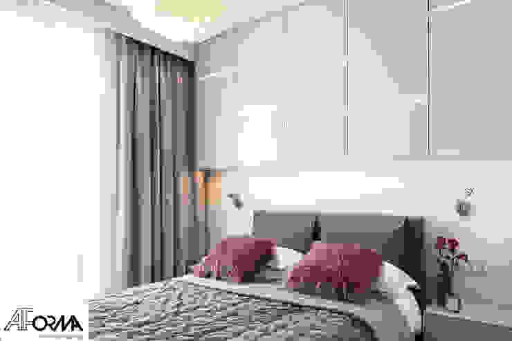modern apartament in grey AFormA Architektura wnętrz Anna Fodemska Modern style bedroom Grey