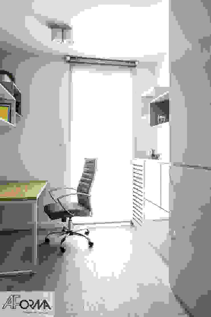modern apartament in grey AFormA Architektura wnętrz Anna Fodemska Modern study/office Grey