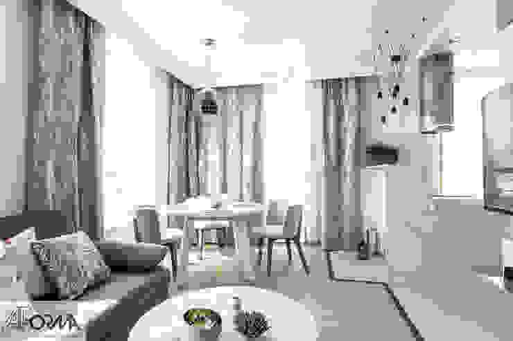 modern apartament in grey AFormA Architektura wnętrz Anna Fodemska Modern dining room Grey